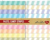 80% off CANDY STRIPES Digital Scrapbooking Paper PASTEL Printable Backgrounds Instant Download 12/15