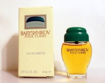 Vintage 1990s Baryshnikov Pour Femme 0.27 oz Eau de Parfum Miniature Mini Bottle and Box PERFUME