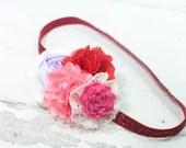 Conversation Hearts - headband in red, pink, lavender, fuchsia and white - Valentine's Day (RTS)