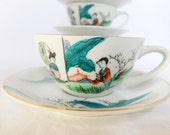 4 Asian, Tea Cups and Saucers, Asian Tea Cups and Saucers, Set of Four, Made in Japan