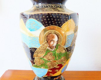 Satsuma Vase, Raised Moriage Enamel and Gilding, Antique Japanese Vase, Hexagonal Shape, Unusual Large Size