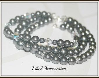 Bridal Cuff Bracelet, Three Stranded, Bridal Jewellery, Wedding Bracelet, Swarovski Grey Ivory Pearl, Bridesmaid Gift, Multistrand Bracelet