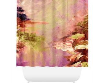 WINTER DREAMLAND 3 Mauve Marsala Shower Curtain Ocean Waves Art Painting Bathroom Washable Decor Olive Green Purple Coastal Nature Modern