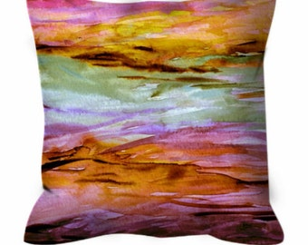 UNANCHORED 2 Rose Quartz Pink Yellow Watercolor Art Suede Throw Pillow Cushion Cover 18x18 20x20 26x26 Ocean Ombre Orange Lilac Beach Decor