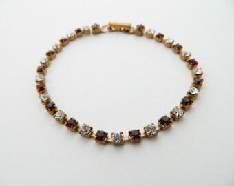 Vintage Tennis Bracelet - BR005a - Faux Ruby and Diamonds
