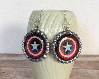 Captain America Shield Earrings, Captain America Jewelry, Captain America Gift, Captain America Accessory, Super Hero, Captain America Fan