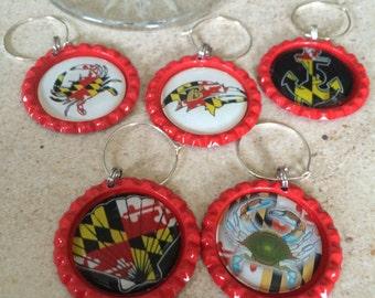 Maryland Wine Charms, Maryland Flag Wine Glass Charms, Maryland Flag Drink Tag Charms, Wine Tags, Maryland Favorites Charms