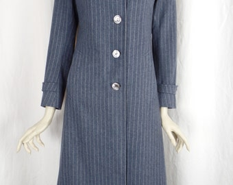 vintage Roger & Gallet Paris pin striped wool long coat/ rare and unique: size FR 40- fits US woman 2-4