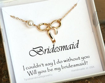 Bow pearl necklace with message card,Tie a knot necklace,wedding jewelry,mother's day gift,Mother's day card,bridesmaid gifts