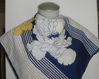 Vintage Blue and Yellow Floral Square Scarf -  Marc Laury Flower Scarves - Womens  Accessories 1970s