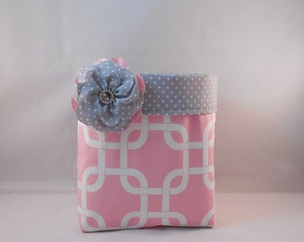 Pink and Gray Fabric Basket With Detachable Fabric Flower Pin For Storage Or Gift Giving