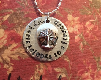 """Firefighters stamped necklace on 18"""" chain."""