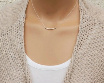 Bar Necklace, Simple Silver Necklace, Dainty Necklace, Everyday Necklace, Sterling Silver Necklace, Bridesmaid Gift, Layered Necklace