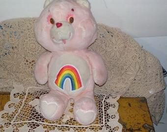 Cheer Bear Care Bear with Rainbow on Tummy  Kenner 19 Inches Tall /:)S