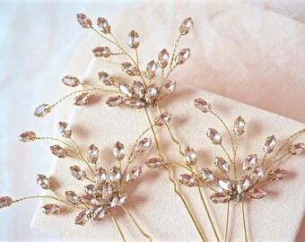 Blush and Gold Rhinestone Hair Pins,Blush Bridal Hair Pins,Blush Wedding Hair Pins, Blush and Gold Hair Accessories,Blush Crystal Hair Pins