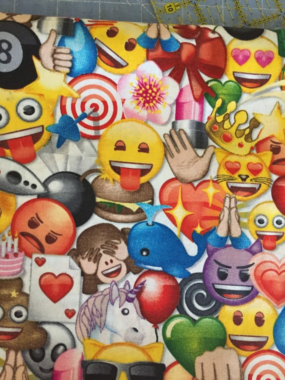 Items similar to emoji fabric by the half yard kid fabric for Emoji material by the yard