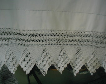 Antique Pillowslips, Pair of Pillowslips, King Size Shams or Pillowslips, Wide Hand Crocheted Edging, Very Elegant, Shabby Cottage