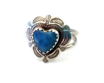 Sterling Silver Concho Ring, Signed QT, Denim Lapis Cowgirl Ring, Southwestern Jewelry, Boho , Size 8