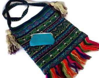 Vintage Boho Woven Tote Bag, Tribal Shoulder Bag, Satchel, Change Purse