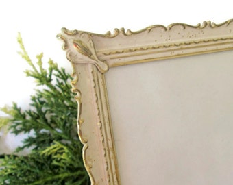 Vintage Shabby Cottage Chic White and Gold Picture Frame, French Provincial Decor