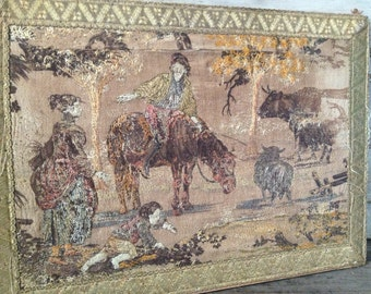 French Framed Wall Tapestry, 1830s Antique Embroidery, Original Artwork Beautiful Countryside Pastels Made in France