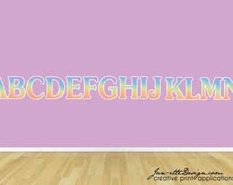 Pastel Rainbow Alphabet Wall Decals, Kid Wall Decals,Alphabet Letters Set