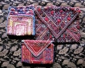 Antique and Vintage Northern Indian and Pakistani Embroidered Purses x 3 - Antique Pakistani Ethnic Embroidered Purse/Wallet -