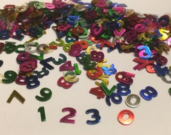 100 - 120 piece assorted number confetti / sequins mix, 6 mm (29)+