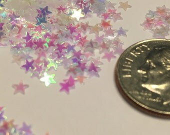 Tiny white iridescent star  confetti , 3 mm (23)+