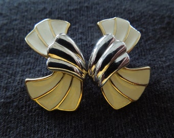 Vintage Trifari Earrings.  Post Style.  Silver Tone with Cream Enameling, Nice Condition
