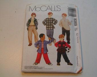 McCalls Pattern 8369 Boys Shirt T Shirt and Pull On Pants