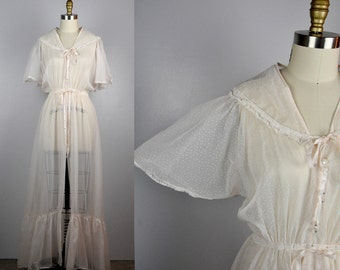 60s LACE Long NigthGown Robe Bed Jacket by TULA Layering Lingerie Peignoir Sheer Robe Polka Dots Wedding Bride Valentine's Day S - M