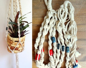 Vintage 70's Cotton Macrame Plant Hanger Blue & Red Beads
