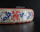 Wide Cotton Jacquard Trim - Vintage Heavyweight Floral Woven Ribbon - Bavarian Style - White Background - Red, Blue, Green, Yellow - 1 yard