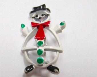 ON SALE Vintage Enameled Mid Century Modern Enameled Christmas Snowman Pin Item K # 579