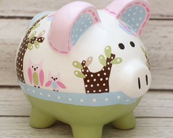 Personalized Piggy bank, Artisan hand painted ceramic bank ~ Hayley design Owls and birds