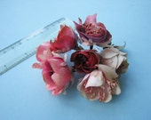Lovely Vintage Corsage 7 Flower Heads Shades of Pink - Vintage Fashion Millinery 1930's