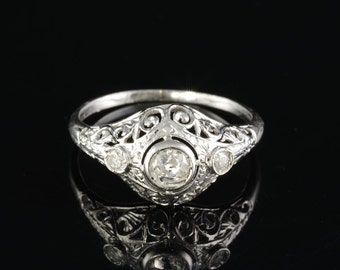 Authentic Art Deco .60 Ct diamond trilogy ring