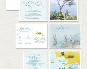 Destination wedding invitation Ravello Amalfi Coast Italy Wedding Invitation and RSVP card bilingual Illustrated invitation Deposit Payment
