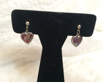 Vintage Silvertone Alpaca Heart Dangle Design Earrings, 3/4'' Long
