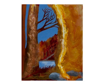 "Painting titled ""Poured Autumn Landscape 1"", an original fluid acrylic artwork on wood panel, an abstract landscape by Kirsten Gilmore"
