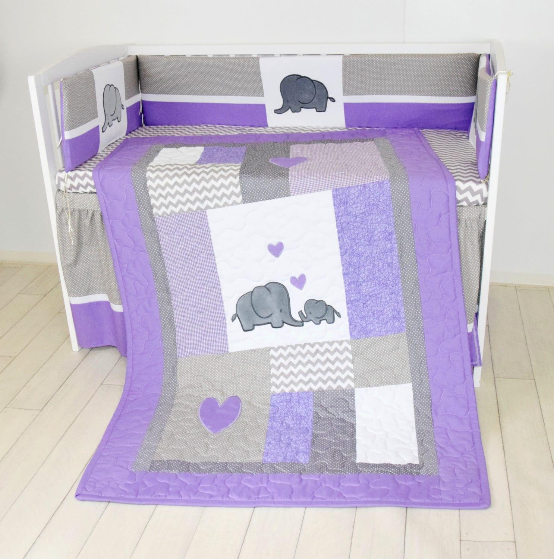 Crib Blanket Elephant Baby Boy Bedding Gray By