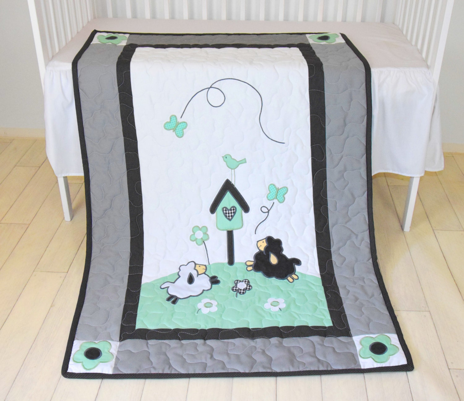 Baby Boy Blanket Lamb Crib Quilt Organic Sheep Blanket Mint Green Black Wh