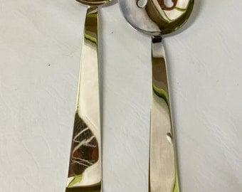 """Vintage Modernist Silver Plate Large Salad Serving Set 12"""" Contemporary"""