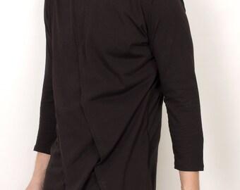 Mens elegant 3 layer draped minimalist tunic shirt
