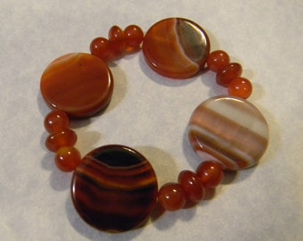 Red Agate Disc and Carnelian Stretch Bracelet