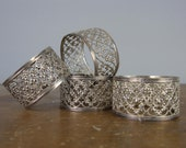 Vintage Napkin Rings Filigree Design / christmas table / Dinner Party / *184
