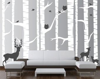 Nursery Birch Tree Wall Decal Forest with Owl Birds and Deer Vinyl Sticker Removable Kids Decor Woodland White Art (10 trees) 1323