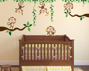 Monkey Jungle Tree Vine Forest Wall Decal Safari Birds Sticker Nursery Kids Room Decor Tropical Banana Custom Boys Girls Set #3018