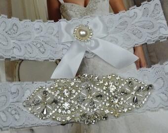 Bridal Garter, Wedding Garter Set, Vintage  Garters, Pearl Garters,White Stretch Lace,